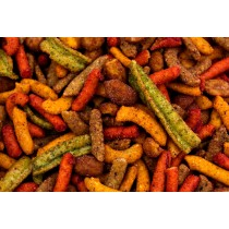 Fiesta Mix - Hot Cajun Corn Sticks, Black Bean Corn Sticks, Churritos (Hot), Honey Roasted Peanuts, Guacamole Bites-1 lb.