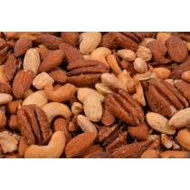 Texas Deluxe Nut Mix (Roasted/Salted) - Cashews, Natural Whole Almonds, Pecans, Blanched Whole Almonds-1 lb.