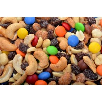 Texas Party Mix (Roasted/Salted)-Gems, Blanched Peanuts, Thompson Raisins, Cashew Splits, Honey Roasted Peanuts-1 lb
